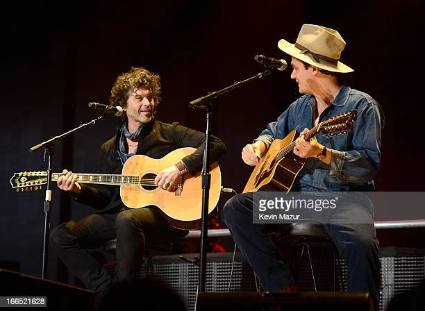 Doyle Bramhall II and John Mayer perform on stage during the 2013 Crossroads Guitar Festival at Madison Square Garden on April 13 2013 in New York...