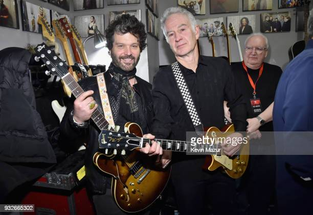 Doyle Bramhall II and John McEnroe attend the Second Annual LOVE ROCKS NYC A Benefit Concert for God's Love We Deliver at Beacon Theatre on March 15...