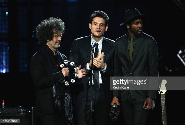 Doyle Bramhall II John Mayer and Gary Clark Jr perform a song by Stevie Ray Vaughan and Double Trouble onstage during the 30th Annual Rock And Roll...