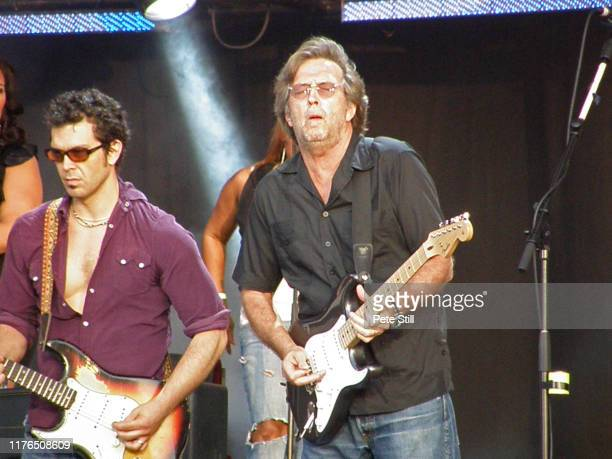 Doyle Bramhall ll and Eric Clapton perform on stage at Hard Rock Calling on June 28th 2008 in Hyde Park London England