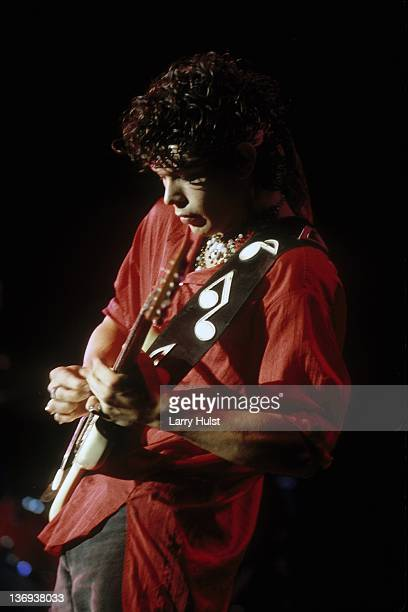 Doyle Bramhall performing with 'Stevie Ray Vaughan' at the Concord Pavilion in Concord, California on August 2, 1986.