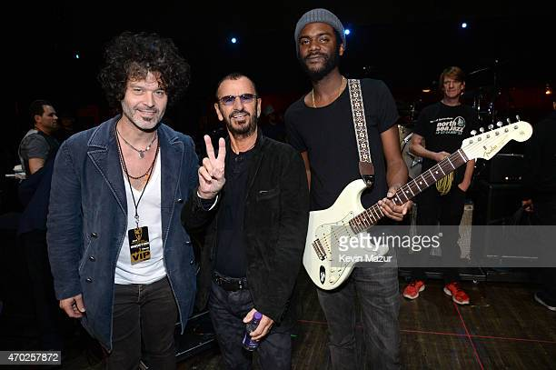 Doyle Bramhall Ringo Starr and Gary Clark Jr attend the 30th Annual Rock And Roll Hall Of Fame Induction Ceremony at Public Hall on April 18 2015 in...