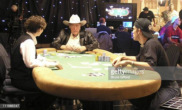 Doyle Brunson and Layne Flack during The 36th Annual World Series of Poker Final Table of Event $500000 Buy in of NoLimit Hold'em Short Handed at The...