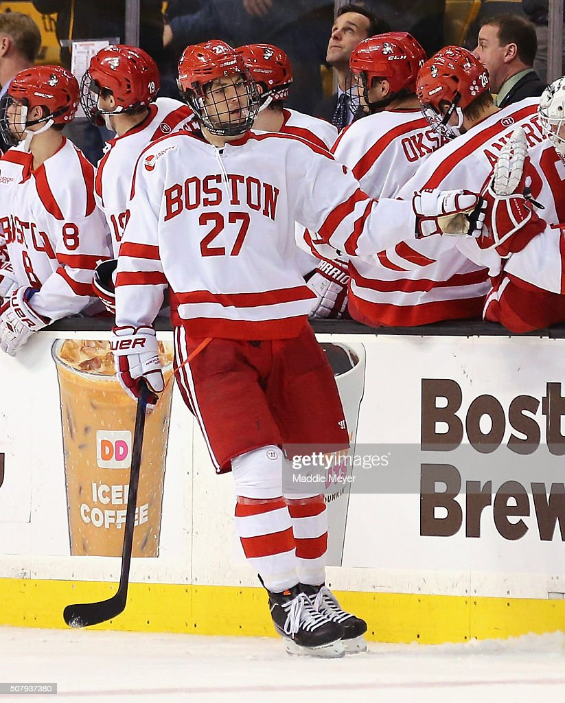 Doyle Somerby #27 of the Boston University Terriers celebrates after scoring against the Northeastern Huskies during the third period at TD Garden on February 1, 2016 in Boston, Massachusetts. The Terriers defeat the Huskies 3-1.