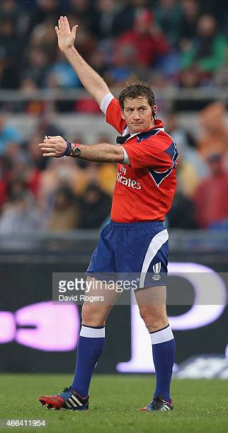 Doyle the referee awards a penalty during the Six Nations match between Italy and France at the Stadio Olimpico on March 15 2015 in Rome Italy