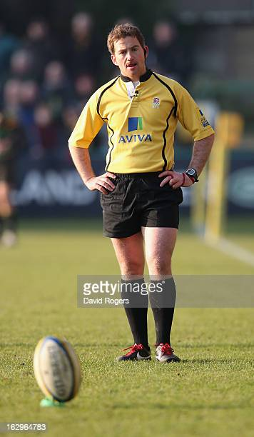 Doyle the referee looks on during the Aviva Premiership match between Northampton Saints and London Irish at Franklin's Gardens on March 2 2013 in...