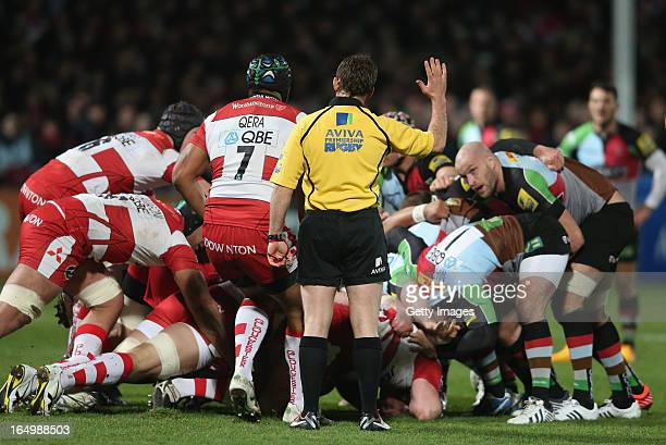 Doyle the referee looks on during the Aviva Premiership match between Gloucester and Harlequins at Kingsholm on March 29 2013 in Gloucester England