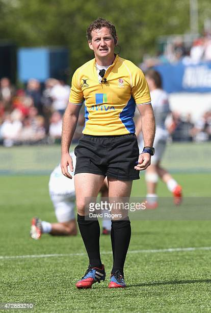 Doyle the referee looks on during the Aviva Premiership match between Saracens and Exeter Chiefs at Allianz Park on May 10 2015 in Barnet England