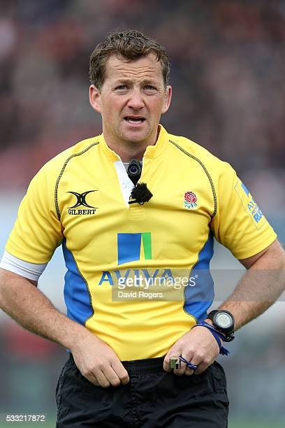 Doyle the referee looks on during the Aviva Premiership semi final match between Saracens and Leicester Tigers at Allianz Park on May 21 2016 in...