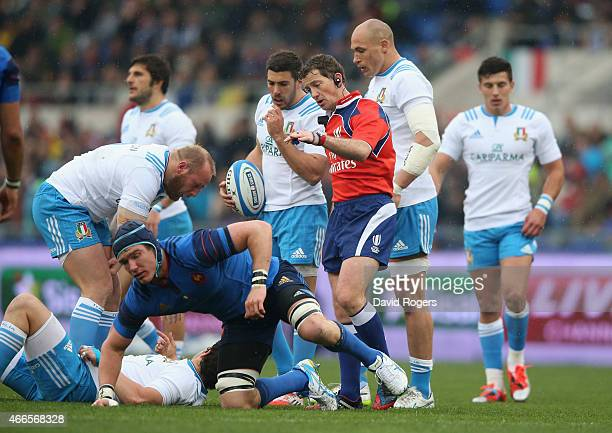 Doyle the referee looks on during the Six Nations match between Italy and France at the Stadio Olimpico on March 15 2015 in Rome Italy