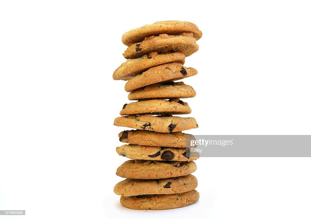 Dozen Chocolate Chip Cookies Stacked : Stock Photo