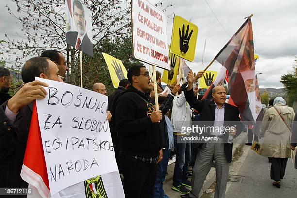 Dozens of Egyptians living in Bosnia gather in front of Embassy of Egypt in Sarajevo Bosnia Herzegovina on November 3 2013 to protest coup in their...