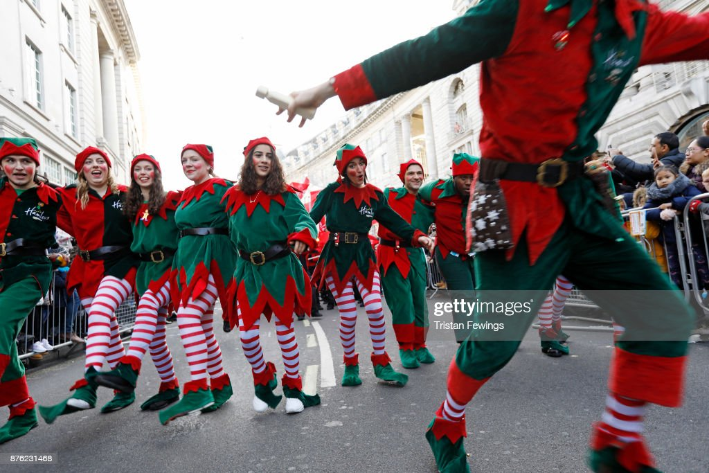 Dozens of Elves were joined by over 300 childrenÕs characters, entertainers, marching bands, floats and flying balloons and an estimated 800,000 festive revellers today for the annual Hamleys Christmas Toy Parade in LondonÕs Regent street. This is now the largest single gathering of toy characters anywhere in the world at Regent Street on November 19, 2017 in London, England.