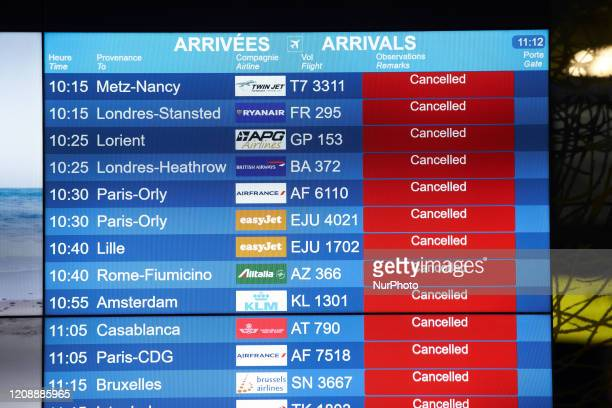 Dozens of flights are cancelled at the Toulouse-Blagnac airport in Toulouse, France, on April 1, 2020. As the Covid-19 massive outbreak concerns...