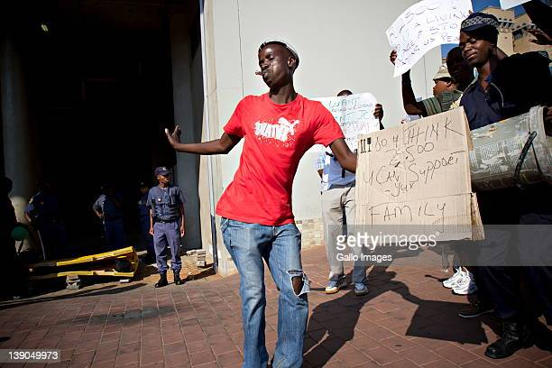 Dozens of Gautrain security guards picket outside the Sandton station on February 15 2012 in Johannesburg South Africa Members of the Transport and...