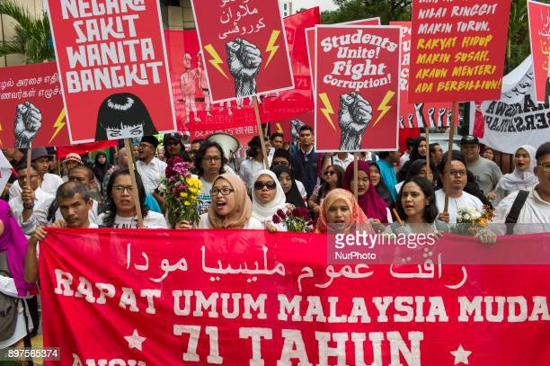 Dozens of Malaysian youth march in Kuala Lumpur to commemorate the 71st anniversary of the formation of Angkatan Pemuda Insaf on December 23 Malaysia