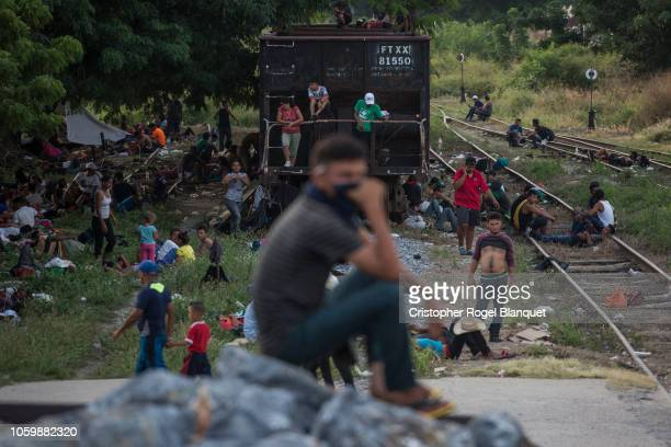 Dozens of migrants rest in a train pass in the city of Arriaga this as part of the migrant carvan of thousands of people who cross Mexico to reach...