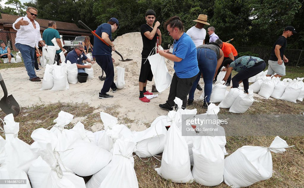 Sandbags filled for Hurricane Dorian preparation : News Photo