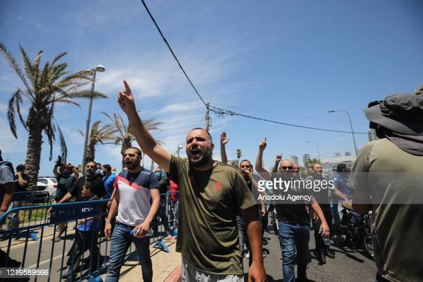 Dozens of Palestinian residents of Jaffa gather to protest the destruction of the historic Muslim Al-Isaf cemetery affiliated to Tel Aviv...