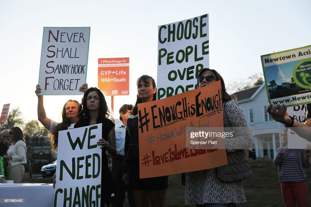 Vigil Held In Newtown, Connecticut For Las Vegas Shooting Victims : News Photo