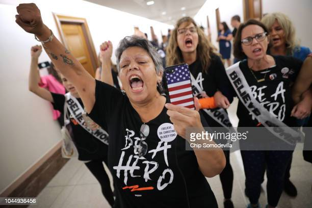 Dozens of protesters including sexual assault survivor Mary Jane Maestras of Delta Colorado demonstrate against the appointment of Supreme Court...