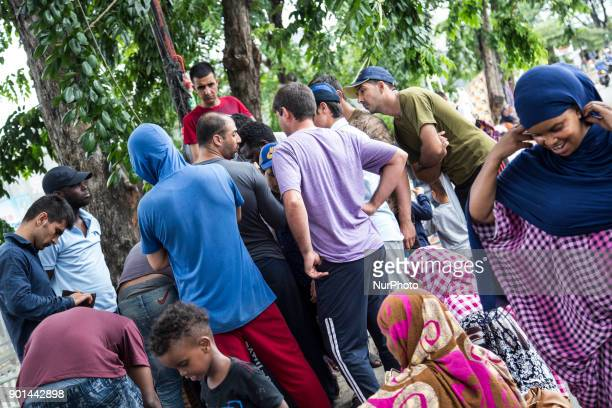 Dozens of refugee from Afghanistan Sudan and Somalia stuck in front of Indonesia Immigration Detention office at KalideresWest Jakarta Indonesia on...