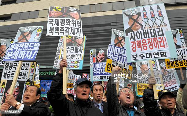 Dozens of South Korean activists hold antiNorth Korea placards and chant slogans during an antiPyongyang rally in Seoul on April 15 marking the 101st...