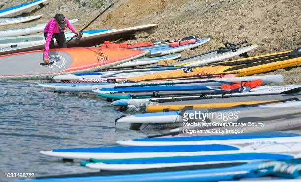 Dozens of standup paddleboards line the shore at Newport Dunes during the Standup Paddling fundraiser for breast cancer ///ADDITIONAL INFO Photo by...