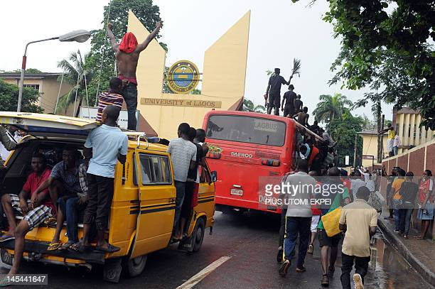Dozens of students of University of Lagos protest on May 29, 2012 the name change of their university to Moshood Abiola University on campus of the...