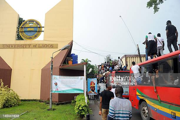Dozens of students of University of Lagos sit on May 30, 2012 on a bus to protest the name change of their university to Moshood Abiola University on...