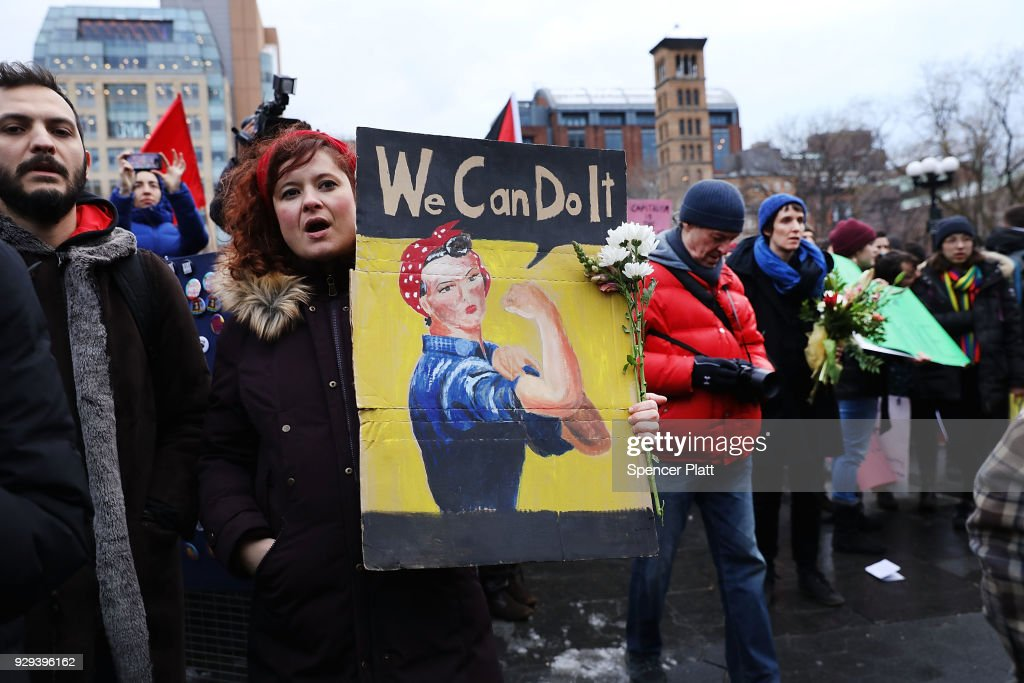 Activists Hold Women's Strike And Rally In NYC For International Women's Day : News Photo