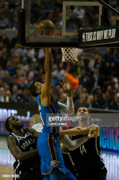 Dozier goes to the basket during the NBA match between Brooklyn Nets and Oklahoma City Thunder at Arena Ciudad de Mexico on December 07 2017 in...