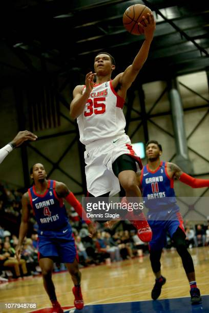 Dozier of the Maine Red Claws lays the ball up against the Grand Rapids Drive at The DeltaPlex Arena for the NBA GLeague on January 05 2019 in Grand...