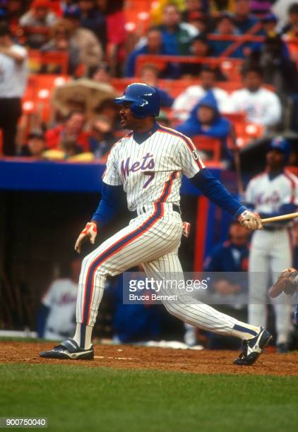J Dozier of the New York Mets swings at the pitch during an MLB game against the Los Angeles Dodgers on May 10 1992 at Shea Stadium in Flushing New...