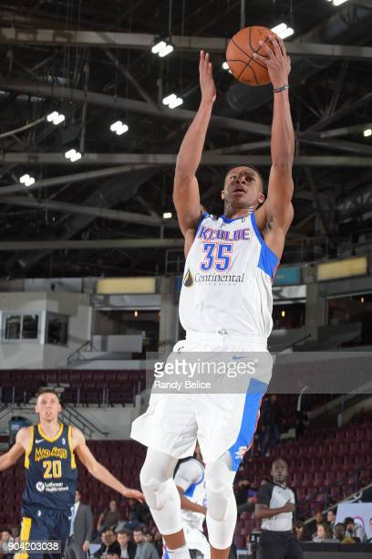 Dozier of the Oklahoma City Blue drives to the basket against the Fort Wayne Mad Ants during the NBA GLeague Showcase on January 11 2018 at the...