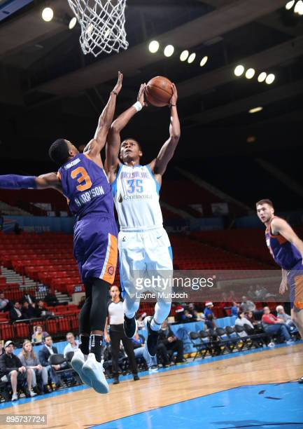 Dozier of the Oklahoma City Blue dunks against the North Arizona Suns during an NBA GLeague game on December 19 2017 at the Cox Convention Center in...