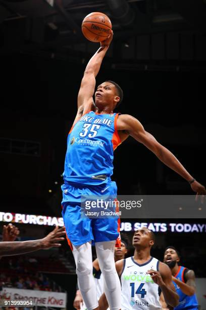 Dozier of the Oklahoma City Blue flies up for a dunk against the Iowa Wolves in an NBA GLeague game on February 3 2018 at the Wells Fargo Arena in...