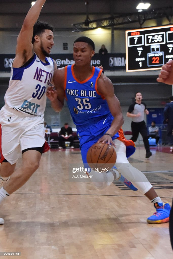PJ Dozier #35 of the Oklahoma City Blue handles the ball against the Long Island Nets at NBA G League Showcase Game 18 on January 12, 2018 at the Hershey Centre in Mississauga, Ontario Canada.
