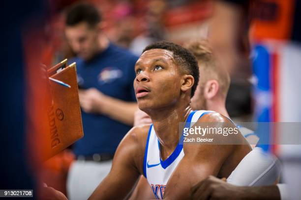 Dozier of the Oklahoma City Blue listens during a timeout against the Iowa Wolves in Oklahoma City OK on January 31 2018 NOTE TO USER User expressly...