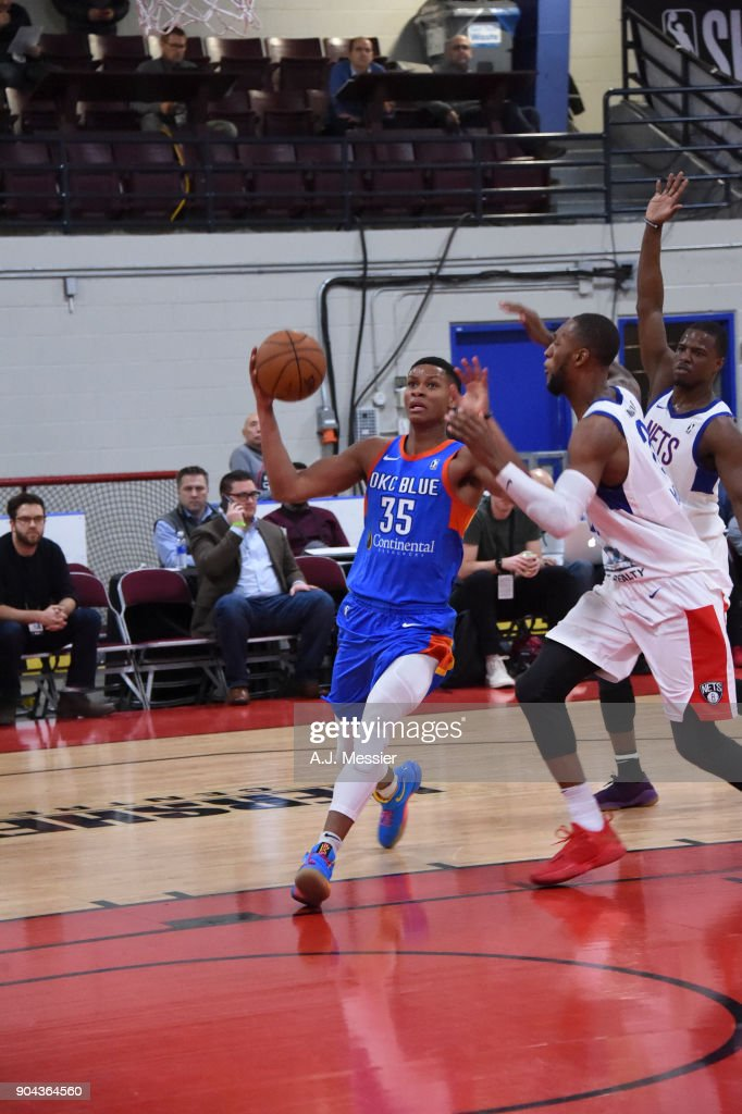 PJ Dozier #35 of the Oklahoma City Blue shoots the ball against the Long Island Nets at NBA G League Showcase Game 18 on January 12, 2018 at the Hershey Centre in Mississauga, Ontario Canada.