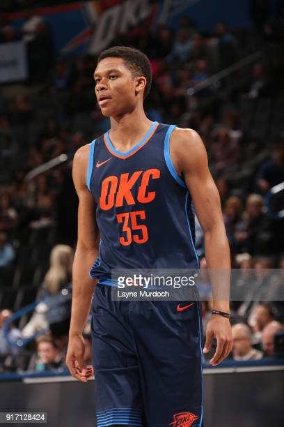 Dozier of the Oklahoma City Thunder looks on during the game against the Memphis Grizzlies on February 11 2018 at Chesapeake Energy Arena in Oklahoma...