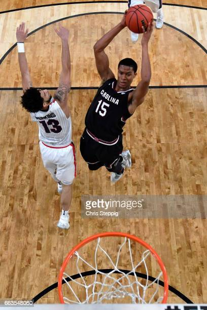 Dozier of the South Carolina Gamecocks drives the basket during the 2017 NCAA Men's Final Four Semifinal against Josh Perkins of the Gonzaga Bulldogs...