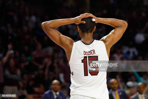 Dozier of the South Carolina Gamecocks reacts against the Marquette Golden Eagles in the second half during the first round of the 2017 NCAA Men's...