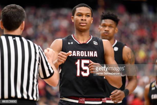 Dozier of the South Carolina Gamecocks runs on to the court prior to tipoff during the 2017 NCAA Men's Final Four Semifinal at University of Phoenix...