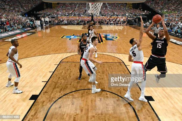 Dozier of the South Carolina Gamecocks takes a jumpshot over Nigel WilliamsGoss of the Gonzaga Bulldogs during the 2017 NCAA Men's Final Four...