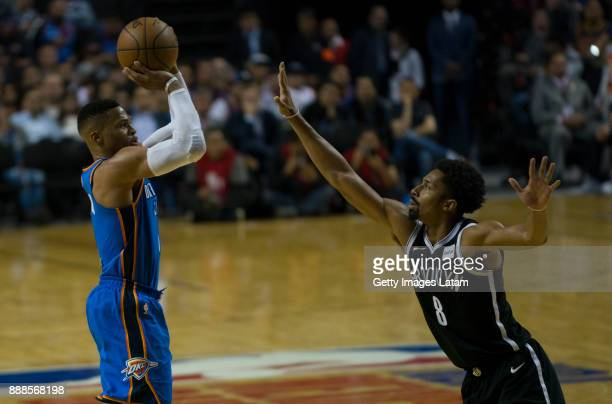 Dozier shoots to the basket during the NBA match between Brooklyn Nets and Oklahoma City Thunder at Arena Ciudad de Mexico on December 07 2017 in...