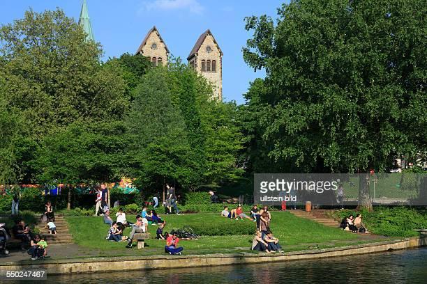 DPaderborn Pader Lippe Alme Westphalian Lowland East Westphalia North RhineWestphalia NRW Pader source Pader headwaters leisure park freetime people...