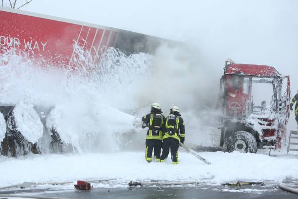 Burning flower truck on motorway A3 Pictures | Getty Images