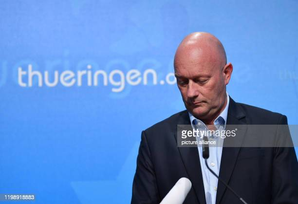 dpatop 06 February 2020 Thuringia Erfurt Thomas Kemmerich Minister President of Thuringia gives a statement at the Seed Office The FDP candidate...