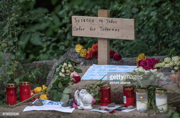 dpatop 07 June 2018 Germany Wiesbaden Candles an angel statuette and personal messages of mourning lying near the site where the body of Susanna F...